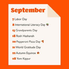 Bright Orange Background September Calendar Holidays List Instagram Square Labor Day Flyer