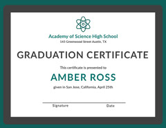 Teal and Gray Science High School Graduation Certificate Teal