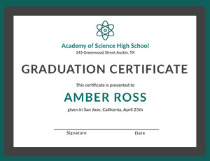Teal and Gray Science High School Graduation Certificate Diploma Certificate