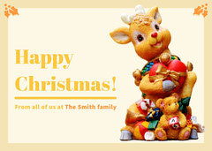Yellow Merry Christmas Card with Reindeer Christmas