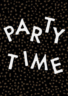 Black and White Confetti Party Time Card Typography