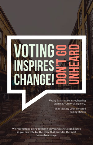 White and Red Speech Bubble Vote in Election Flyer Grassroot Movement Posters