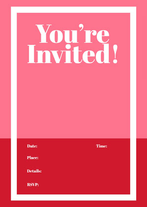 Red and Pink Blank Invitiation Blank Invitation
