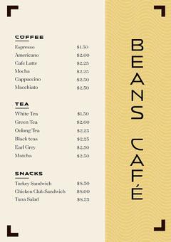 Black and Yellow Pattern Coffee Shop Menu Tea Time