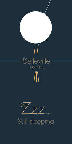 Navy and Gold Minimal Art Deco Belleville Hotel Door Hanger Hotels