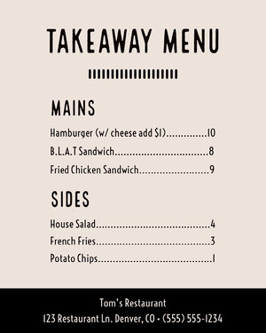 Pale Pink Takeaway Restaurant Menu COVID-19 Re-opening