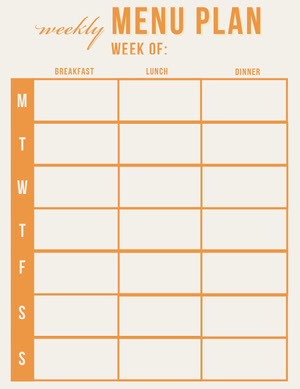 Orange Weekly Meal Planner Menu de la semaine