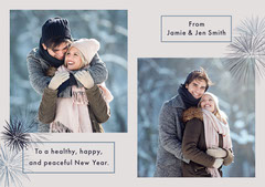 young couple holiday photo card Fireworks