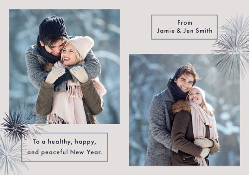 White and Blue Young Couple Holiday Photo Card Messaggi di felice anno nuovo