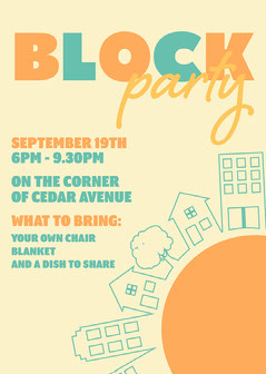 Orange & Yellow House Icons Block Party Invitation Block Party Flyer