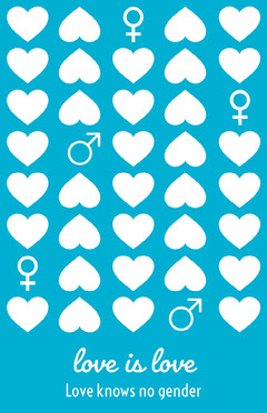 Blue and White Love Is Love Poster Awareness