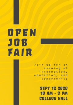 Yellow and Black Open Job Fair A5 Flyer Career Poster