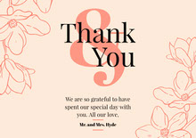 floral red wedding thank you card Bryllupstakkekort