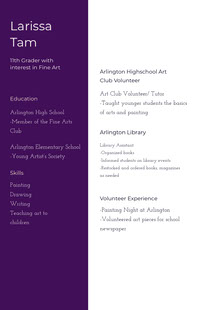 White and Violet Professional Resume High School Resumes