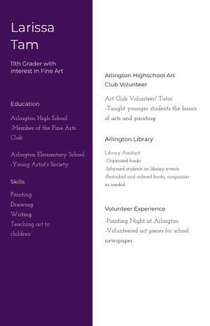 White and Violet Professional Resume High School Resume