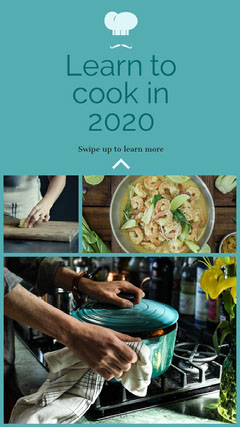 Blue, Light Toned, Collage, Cooking Lesson Ad, Instagram Story Tutor Flyer