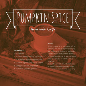Red and White Pumpkin Spice Coffee Recipe Instagram Post Resepti