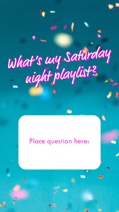 Blue and Pink Weekend Party Music Playlist Interactive Instagram Story with Confetti Confetti