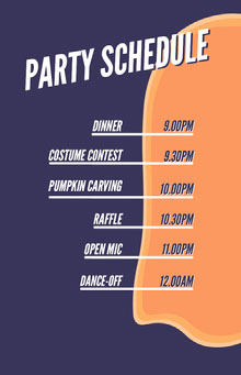 Ghost Costume Halloween Party Schedule 行程表