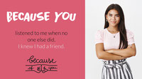 Pink and White Friendship Quote Twitter Banner Thank You Messages