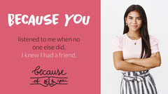 Pink and White Friendship Quote Twitter Banner Anti-Bullying