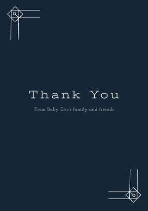 White and Black Thank You Card Baby Shower Card
