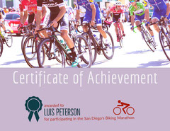 Violet and Cycling People Award Certificate Bike