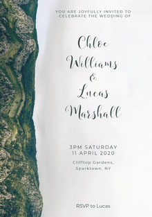 White and Green Wedding Invitation Invitation