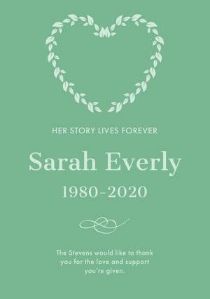 Sarah Everly  Funeral Thank You Card