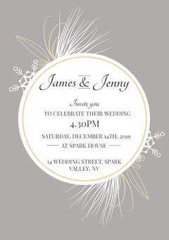 Winter Wedding Circle  A5 Grey
