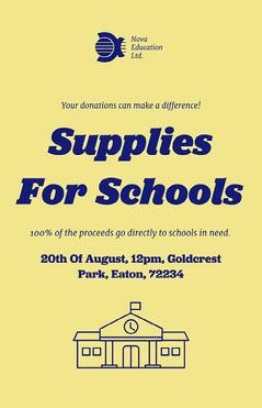 Yellow & Blue School Supply Fundraiser Poster Fundraiser