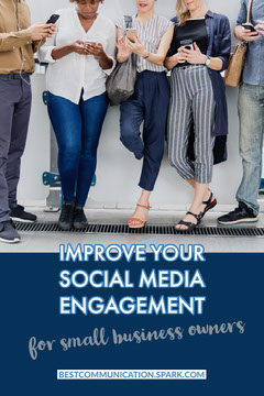 Blue Social Media Engagement Improvement Pinterest Graphic with People Using Smartphones Social Media Flyer