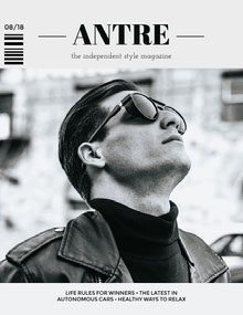 Black and White Fashion Magazine Cover with Male Model in Sunglasses and Leather Jacket Magazine Cover