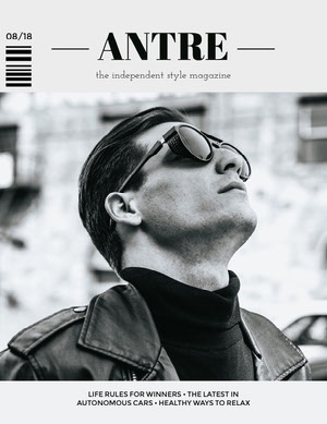 Black and White Fashion Magazine Cover with Male Model in Sunglasses and Leather Jacket Capa de revista
