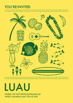 Yellow Flat-Lay Luau Invitation Luau Invitation