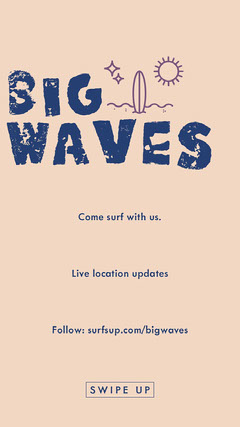 Blue and Beige Illustrated Surfing Club Instagram Story Wave