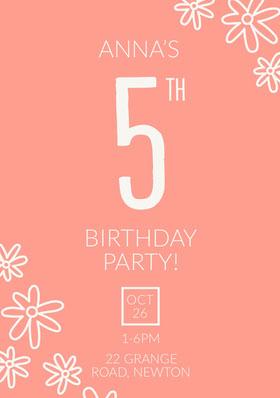 Pink, White Birthday Party Invitation Card Birthday Invitation (Girl)