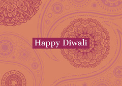 Orange and Claret Happy Diwali Card Religion