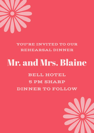 Pink and Red Rehearsal Dinner Invitation Rehearsal Invitation