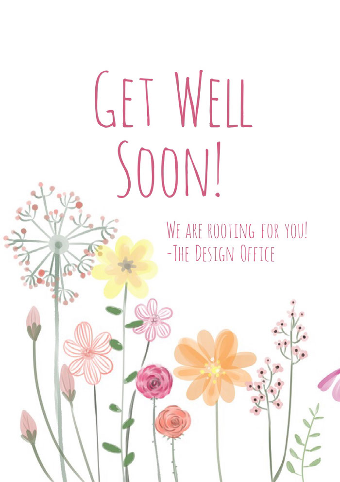 Pink and White Support Card Get Well Soon Messages