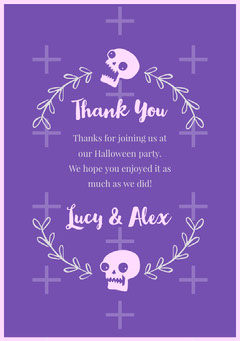 Floral Skull Halloween Party Thank You Card Halloween Party Thank you Card
