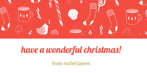 Red Illustrated Christmas Gift Tag Etiqueta de regalo