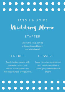 Blue and White Wedding Menu Menu bruiloft