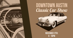 Beige and White Classic Car Show Facebook Event Cover Car Show