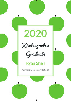 Green Apples Kindergarten Graduation Announcement Card Graduation Congratulation