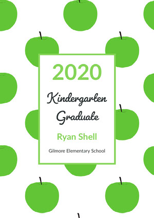 Green Apples Kindergarten Graduation Announcement Card Carte de félicitations