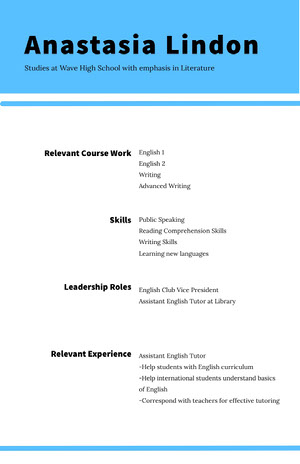 Blue and White Professional Resume High School Resume