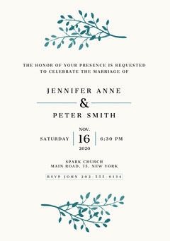 White and Green, Light, Delicate, Wedding Invitation Card Rustic Wedding Invitation