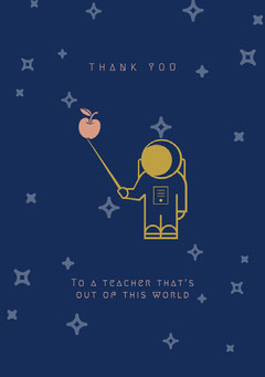 Navy Blue and Yellow Thank You Card Teacher