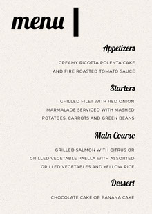 Black and White Modern Wedding Menu Menú de bodas